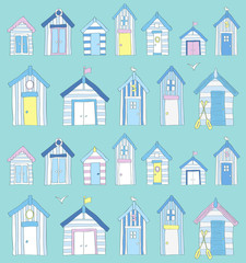 Hand Drawn Blue, Pink and Yellow Beach Huts