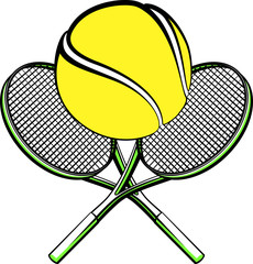 Illustration of a tennis ball sitting on crossed rackets.