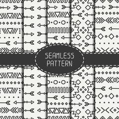 Set of hand drawn geometric ethnic seamless pattern. Wrapping