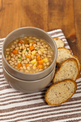 Homemade Vegetable Soup with beans. Selective focus.
