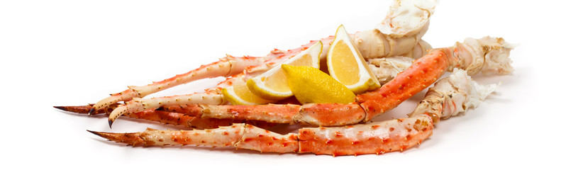 Crab Legs on white background. Selective focus.