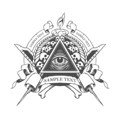 All seeing eye. Mystic occult esoteric.