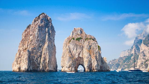 Capri island, famous Faraglioni rocks, landscape