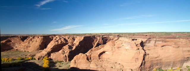 Panorama of Canyon de Chelly National Monument on Navajo tribal lands in autumn