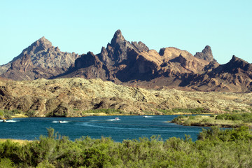 "Recreational boats in a bend of the Colorado River near ""the Needles"" on the Arizona-California border"