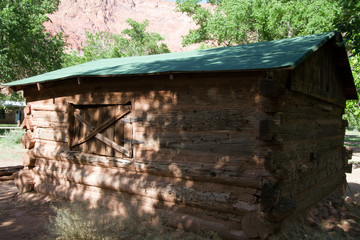 Log cabin in Lonely Dell Ranch National Historic District at Lee's Ferry in Arizona