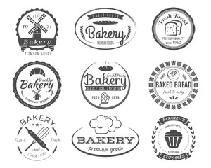 Set of bakery labels, badges and design elements, symbols. Fresh