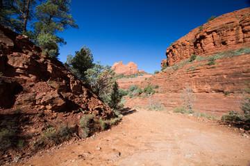 Rough-dirt Schnebly Hill Road runs through red-rock country near Sedona, Arizona