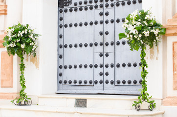 Floral motif on the door of a church