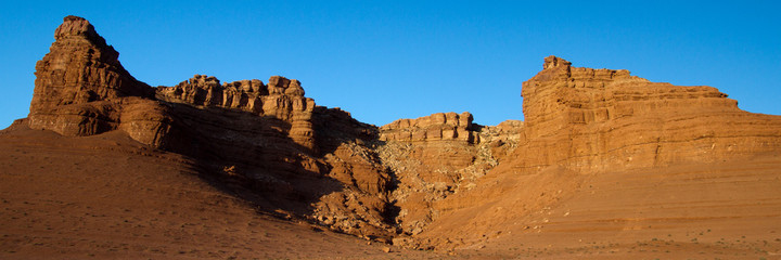 Panorama of Vermilion Cliffs National Monument in the Arizona Strip at dawn