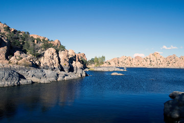 Beautiful rocks and reflections in the Granite Dells at Watson Lake near Prescott, Arizona