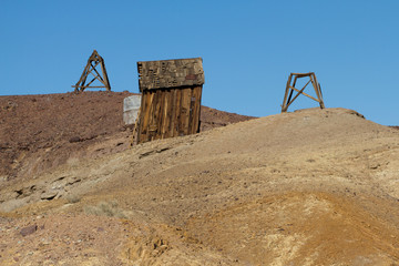 Abandoned mining building in Calico Ghost Town, owned by San Bernardino County, California