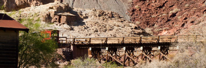 Historic railroad trestle in Calico Ghost Town, owned by San Bernardino County, California
