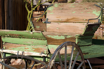 Vintage buckboard wagon in Calico Ghost Town, owned by San Bernardino County, California