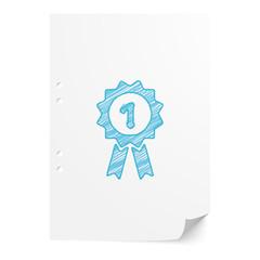 Blue handdrawn Prize Ribbon illustration on white paper sheet wi