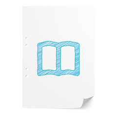 Blue handdrawn Book illustration on white paper sheet with copy