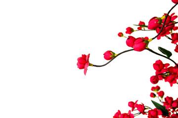 handmade cloth flower, Red Japanese flowering cherry