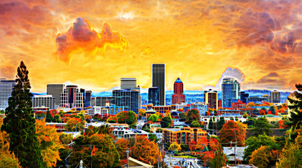 Portland Cityscape in Fall SeastonAbstract