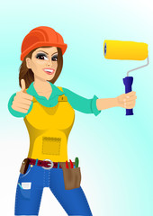 plasterer woman with paint roller