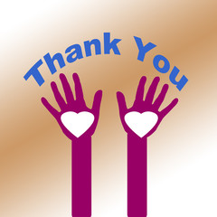 Thank You by Heart on shaded brown background
