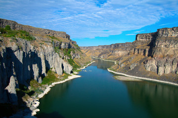 Snake River and its canyon as seen from Shoshone Falls near Twin Falls, Idaho