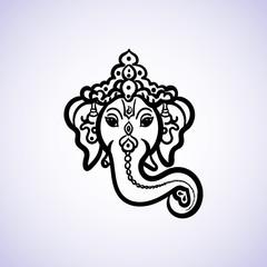 Hand drawn God Ganesh Indian style black on a white background