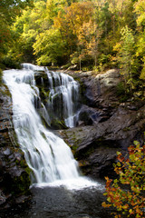 Bald River Waterfall in autumn, Tellico River inside Tennessee's Cherokee National Forest