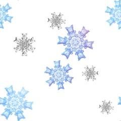 Seamless snowflakes pattern on white bakground