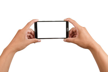 Blank screen on black mobile phone in male hand isolated.