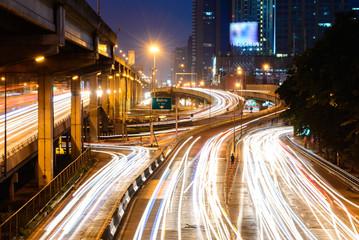 Bangkok traffic road at night.