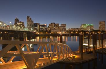 Portland Oregon akyline and river at twilight.