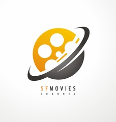 Creative symbol design for movie and television industry.