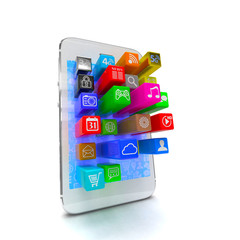 application software icons extruding from smartphone, isolated