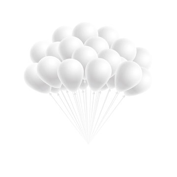 Vector bunch birthday or party white balloons