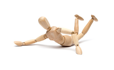 wooden figure mannequin falling down isolated on white
