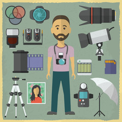 Photography character flat design.Photography flat icons. Vector