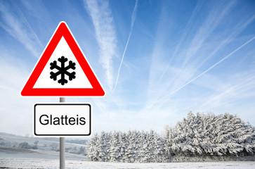 Verkehrsschild Glatteis