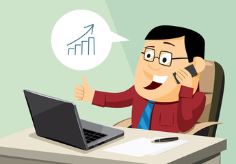 Funny man sitting at a computer and handle business call. Cartoon vector simple illustration.