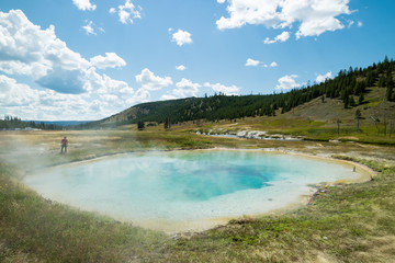 Colorful Thermal Pool and Geyser at yellowstone National Park, Wyoming, United States