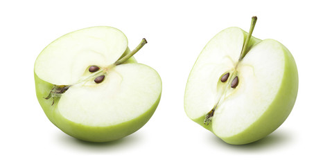 2 green apple half options isolated on white background