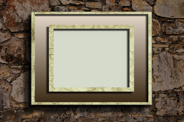 Linear frame on stone wall background