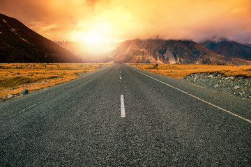 beautiful land scape of asphalt highways perspective to sun set