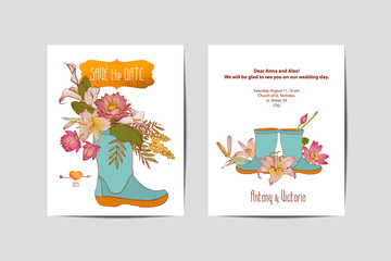 bilateral wedding invitation. Flowers in rubber boots