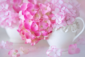 Beautiful pink hydrangea flowers close-up in a ceramic jug on a light background.