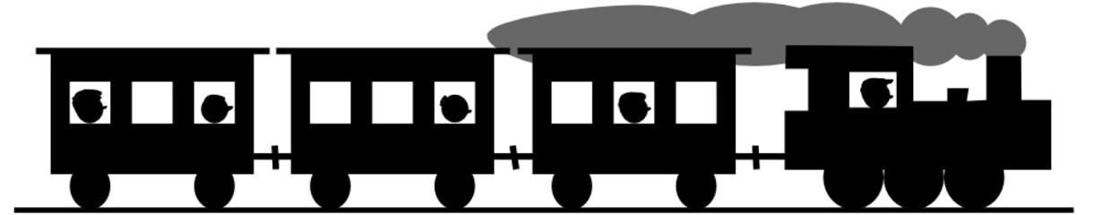 Dampflok mit Personenwaggons - alte Eisenbahn