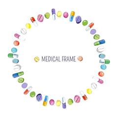 Watercolor medical frame.
