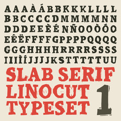 Home made slab serif linocut typeset