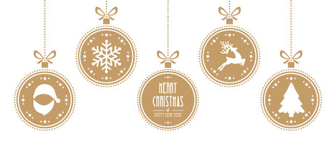christmas balls hanging gold isolated background