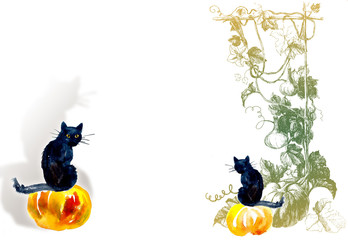 Two black cats on pumpkin. Halloween composition. Watercolor hand drawn illustration