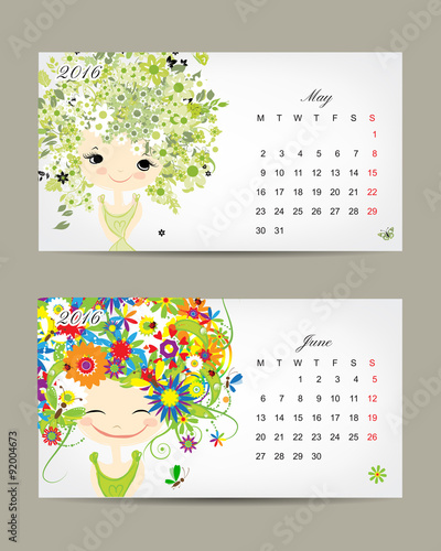 Calendar Girl June Kindle : Quot calendar may and june months season girls design